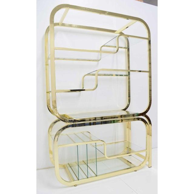 Metal Milo Baughman for DIA Brass Finish Étagère For Sale - Image 7 of 8