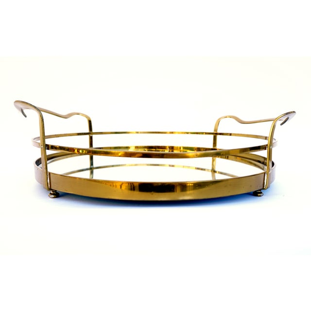 Vintage Hollywood Regency Solid Brass & Mirror Tray - Image 6 of 10