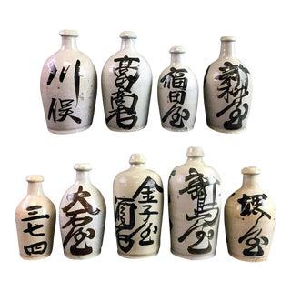 Vintage Japanese Sake Bottle - Set of 9 For Sale
