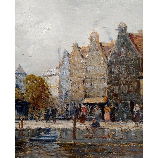Old Amsterdam With Boats - 19th Century Dutch Impressionist Oil Painting For Sale - Image 4 of 11