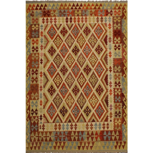 Abstract Rosetta Beige/Gold Hand-Woven Kilim Wool Rug -5'10 X 7'8 For Sale