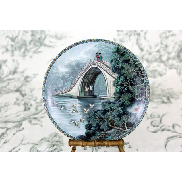 """Ceramic """"Scenes From the Summer Palace"""" Imperial Jingdezhen Porcelain Collector Plates - Set of 7 For Sale - Image 7 of 13"""
