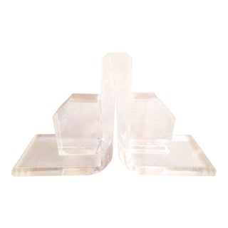 Vintage Mid-Century Modern Lucite Bookends- 2 pc