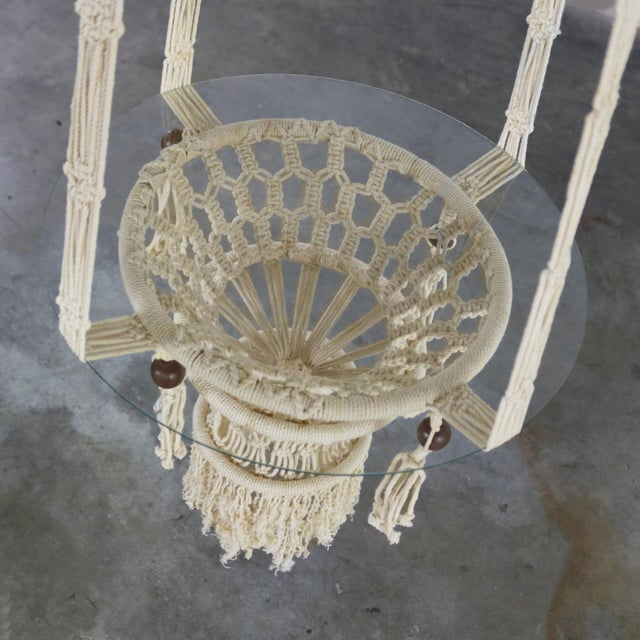 White Vintage Bohemian White Macramé Hanging Tables With Round Glass Tops - a Pair For Sale - Image 8 of 14