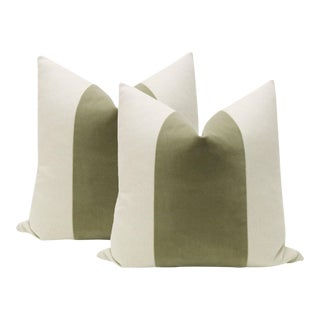 "22"" Spanish Moss Green Panel & Linen Pillows - A Pair"