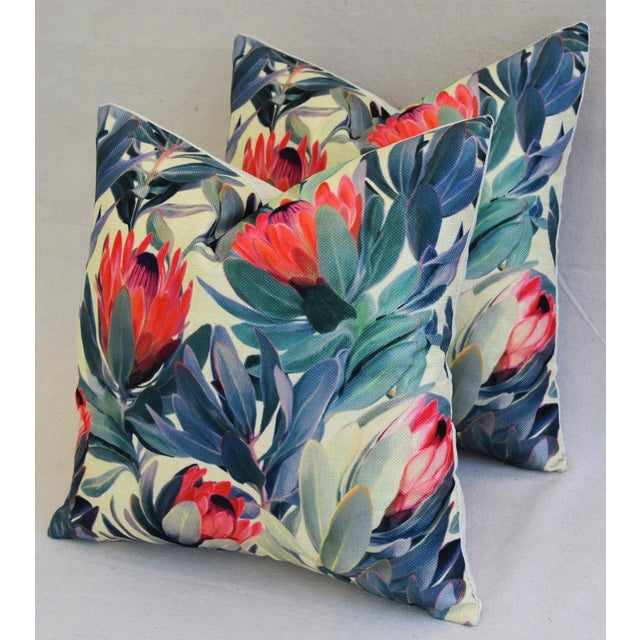 "18"" Colorful Tropical Protea Floral Feather/Down Pillows - a Pair - Image 8 of 11"