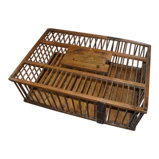 Vintage W.J. Carpenter Co Primitive Wood Chicken Crate Coffee Table For Sale