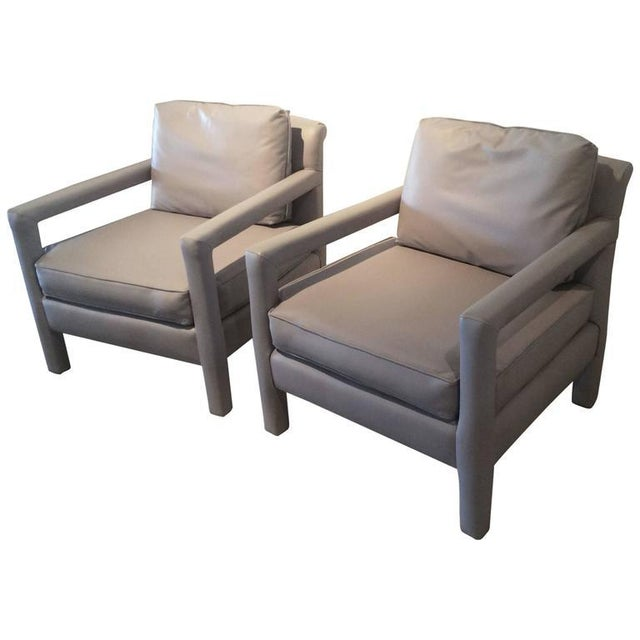 Vintage Milo Baughman Style Parsons Grey Leather Arm Chairs - A Pair For Sale - Image 11 of 12