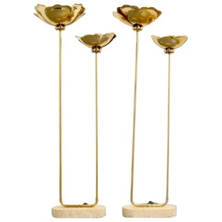 Pair of Tommaso Barbi Floor Lamps Brass and Marble For Sale