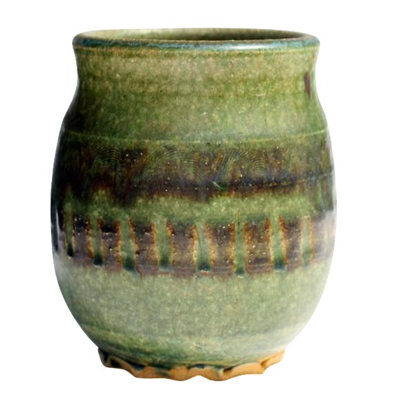 Small Green Ceramic Pot - Image 1 of 6