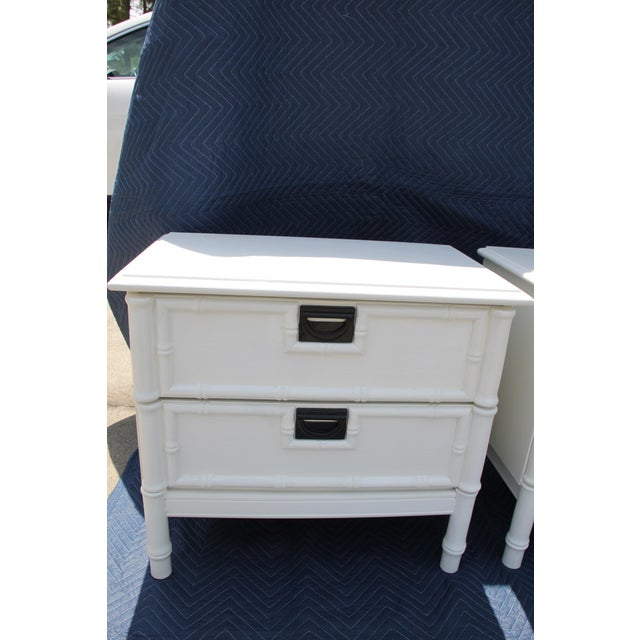 Asian Thomasville Hollywood Regency Faux Bamboo Nightstands - a Pair Will Paint in Any Desired Color for an Additional Fee. For Sale - Image 3 of 5