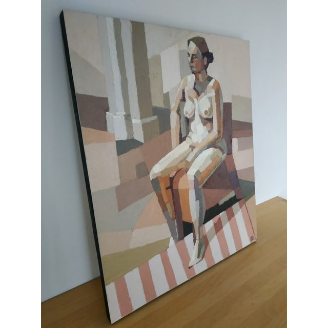 Seated Nude painted in impasto oil on cradled canvas board, ready to hang.