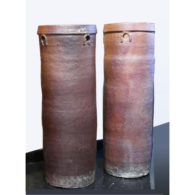 1960s Brown Cylinder Vessels - a Pair For Sale - Image 5 of 5