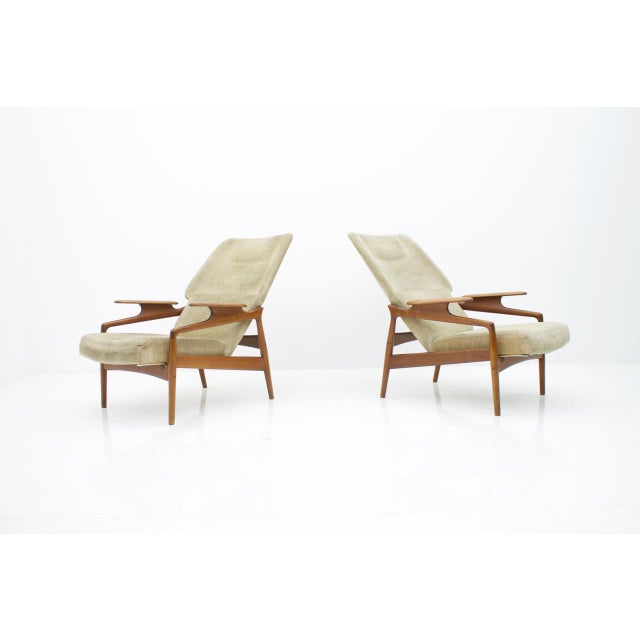 Pair of Reclining Teak Lounge Chairs by John Boné, Denmark 1960s For Sale - Image 4 of 11