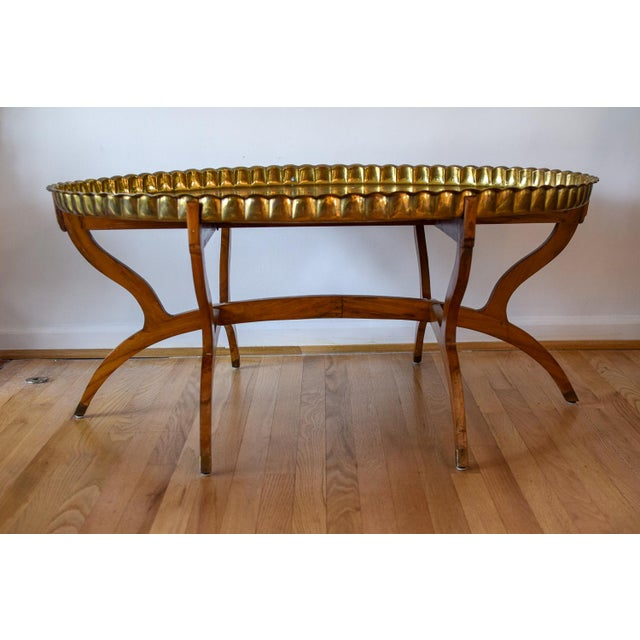 Mid 20th Century 20th Century Moroccan Brass Tray and Teak Spider Leg Table For Sale - Image 5 of 13