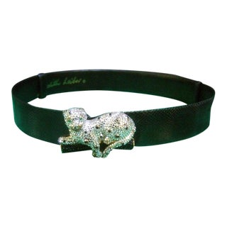 Judith Leiber Crystal Encrusted Panther Buckle Belt For Sale