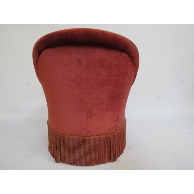 Vintage 1940s Crimson Red Slipper Chair - Image 4 of 5