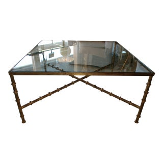 Vintage Kravet Faux Bamboo Brass Coffee Table For Sale