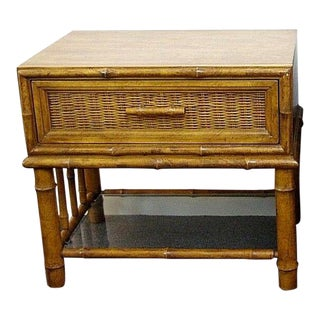 American Of Martinsville Wicker Faux Bamboo Side Table For Sale