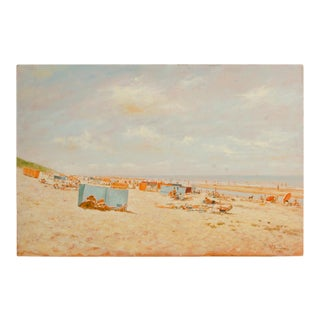 Mid 20th Century Beach Scene Oil Painting by Willem Helfferich For Sale