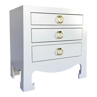 Bungalow 5 Modern White Lacquer Finished Three Drawer Side Table For Sale