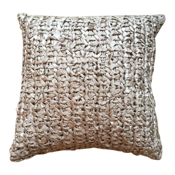 Square Woven Silk Ribbon Pillow For Sale