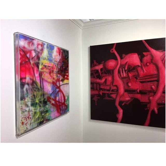 Oil on wood panel colors: hot pink, newport blue, baby blue, black, red About the artist: Born in Havana, Cuba, in the...