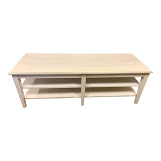 Ethan Allen White Wash Two Tiered Coffee Table For Sale