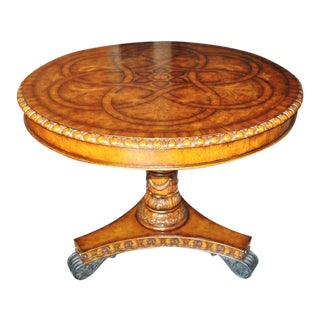 Maitland-Smith Hand Carved Mahogany Pedestal Table