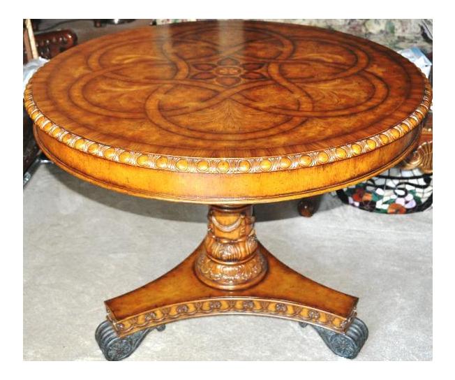 Maitland Smith Hand Carved Mahogany Pedestal Table