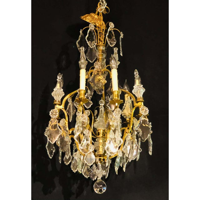 French Bronze and Crystal Gilt Chandelier, Louis XVI Style For Sale - Image 4 of 13