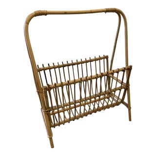 Mid-Century Modern Wicker Rattan Albini Style Bamboo Magazine Rack For Sale