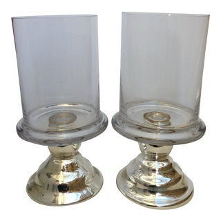 1980s Silver Glass Hurricane Lamps - a Pair For Sale