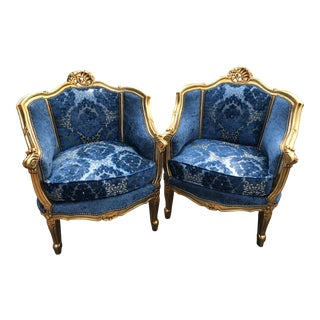 1940s French Louis XVI Chairs Blue Upholstered Gold Bergere Chairs - a Pair