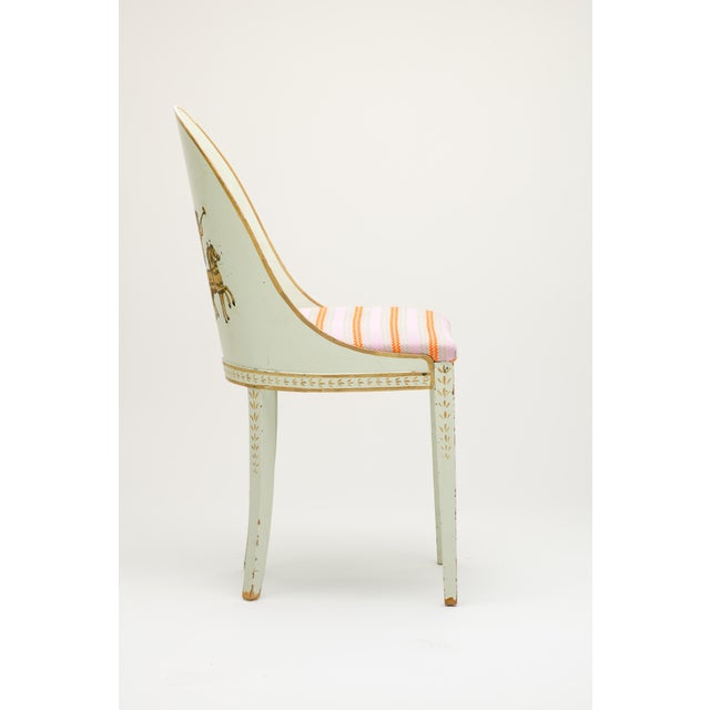 A Neoclassical Style Wooden chair, Circa Unknown, Presumably American Upholstered with Milton Textiles in Reni Chainstitch...