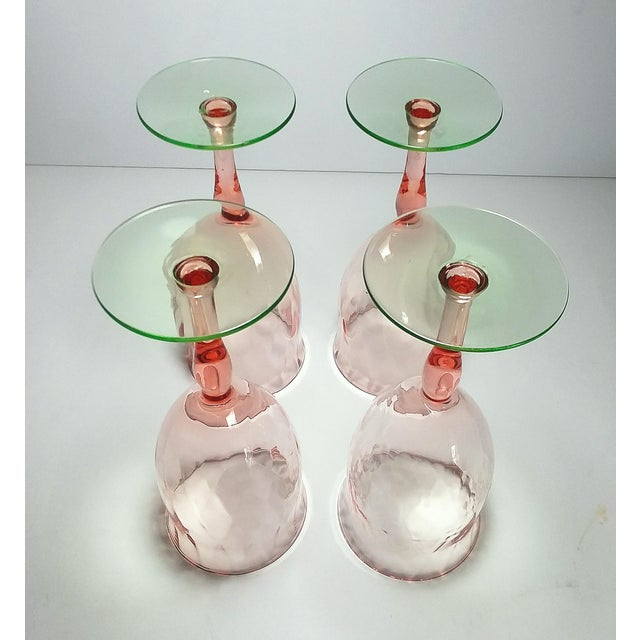 Pink & Green Weston Diamond Optic Goblets - Set of 4 For Sale - Image 4 of 5