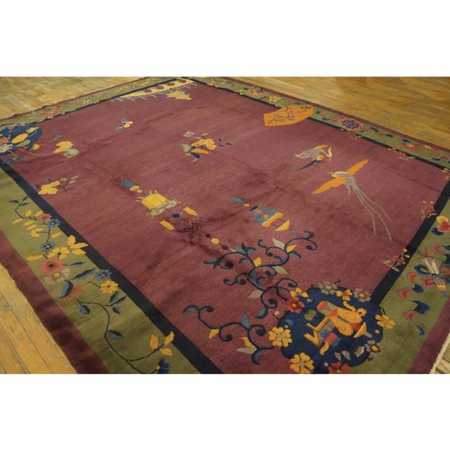 """Antique Chinese Art Deco Rugs 9'2"""" X 11'8"""" For Sale - Image 10 of 11"""