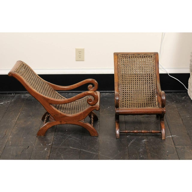 Pair of French 19th Century English Children's Chairs With Cane Backs and Seats For Sale - Image 4 of 11