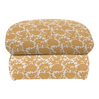 LuRu Home for Casa Cosima Milan Linen Ottoman, Flower, Cumin For Sale