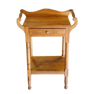 19th Century Early American Pine Washstand W/ Towel Rack & Shelf For Sale