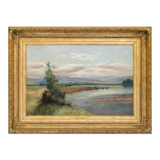 """1890-1900s """"On the Feugh from Strachan"""" Painting by Thomas Bunting (Aberdeen) Painting, Framed For Sale"""
