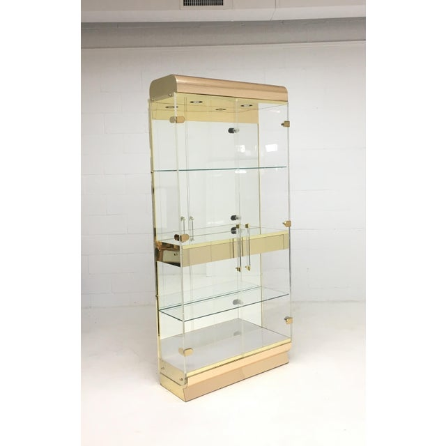 Mid Century Lucite and Brass Display Cabinet With Drawer For Sale - Image 4 of 7