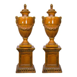 Pair of Italian Glazed Terra Cotta Lidded Urns, Late 20th Century For Sale