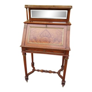 Antique French Mahogany Louis XVI Slant Front Lady's Bureau Writing Desk For Sale
