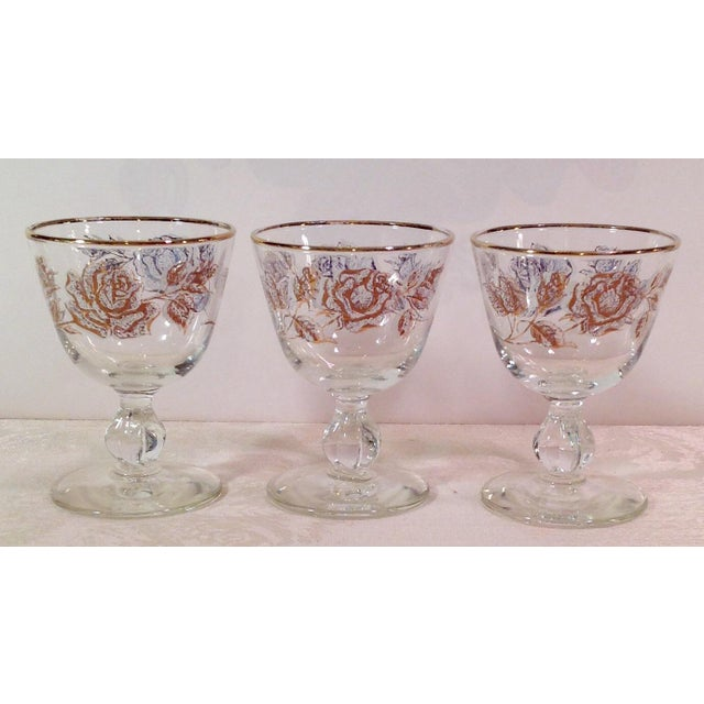Mid-Century White Rose & Gold Glasses - Set of 14 - Image 4 of 7