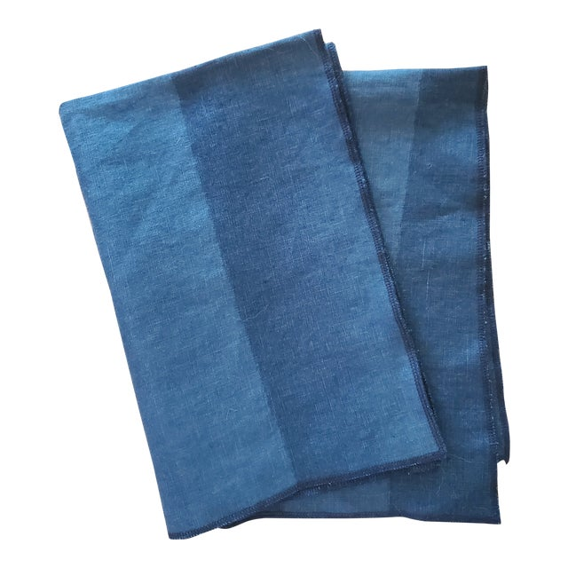 Tea Towels Blue/Green Two Tone - a Pair For Sale