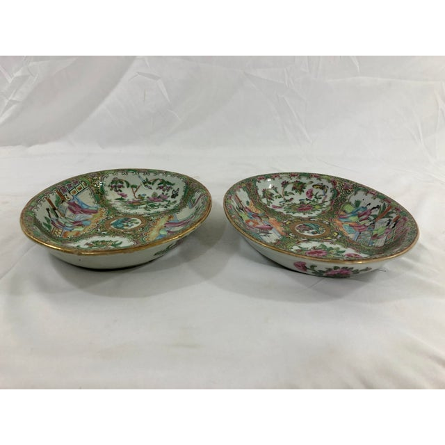 Chinese Antique Rose Medialion Oval Plates on Stands - a Pair For Sale - Image 3 of 11