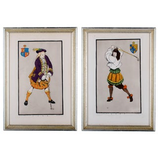 Early Golfing Costume Prints - A Pair For Sale