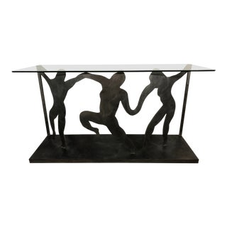 Art Deco Revival Figurative Steel Console Table, Vintage 1970s For Sale