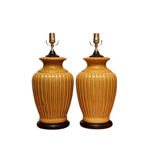 Wildwood Ceramic Table Lamps - a Pair For Sale